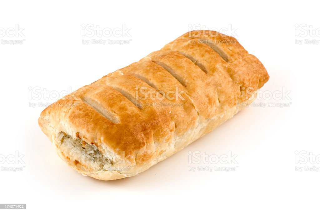 Toasted sausage roll on white background stock photo