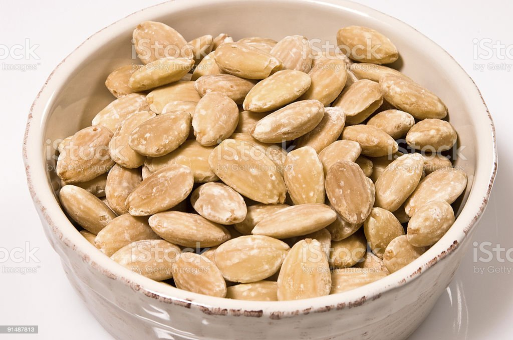 Toasted skinless almonds stock photo