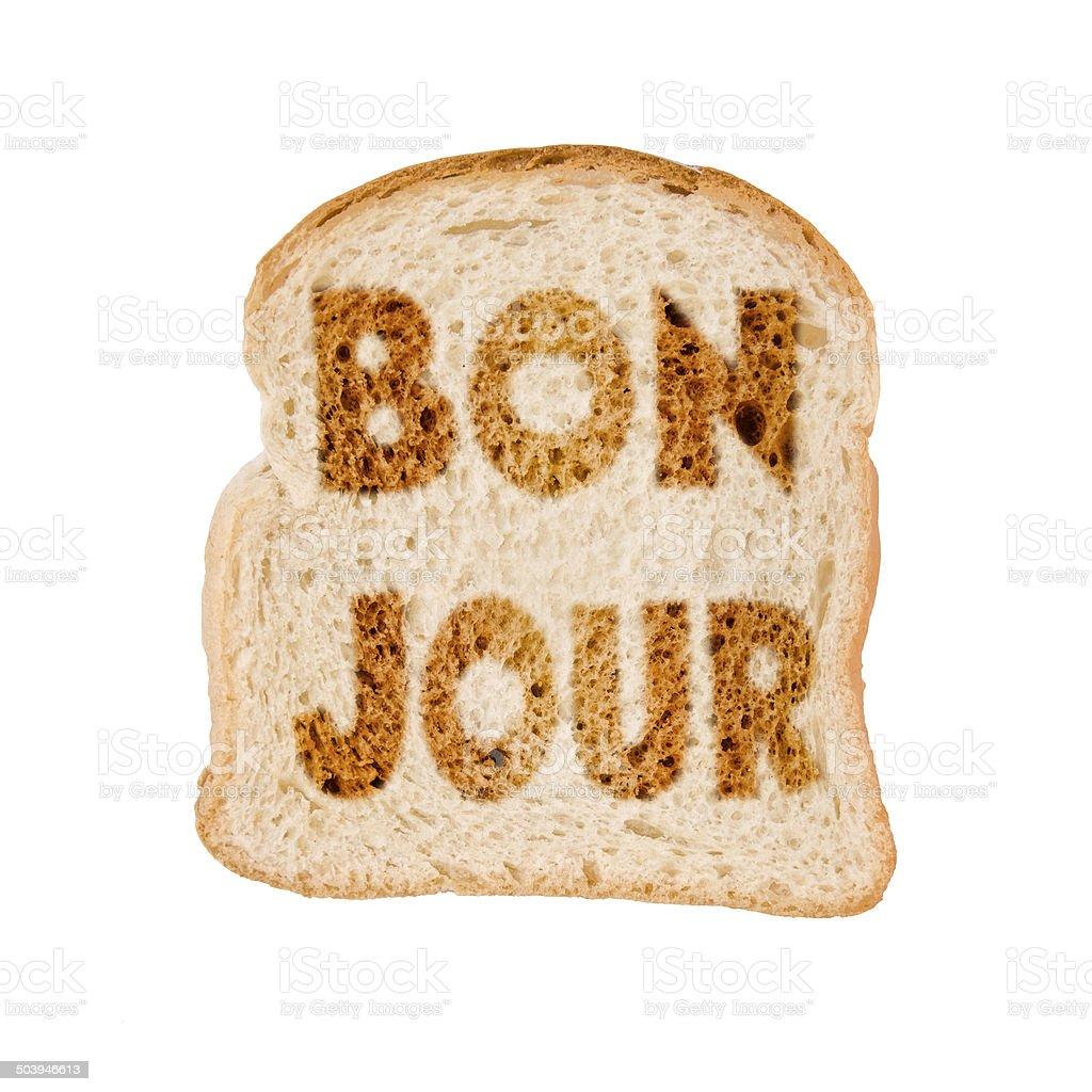 Toasted slice of bread bonjour, isolated on white background stock photo