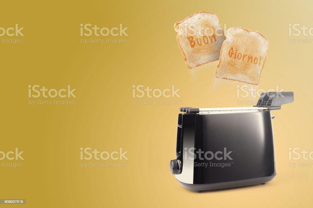 toaster with written buon giorno on bread - foto stock