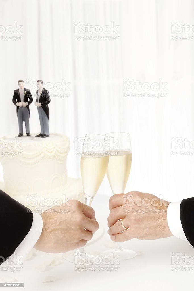 Toasting Champagne Same Sex Marriage Gay Men Wedding royalty-free stock photo