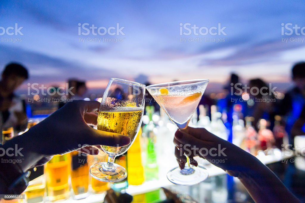 Toasting, Cheers! stock photo