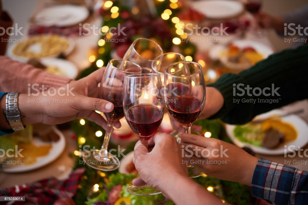 Toasting for Christmas stock photo