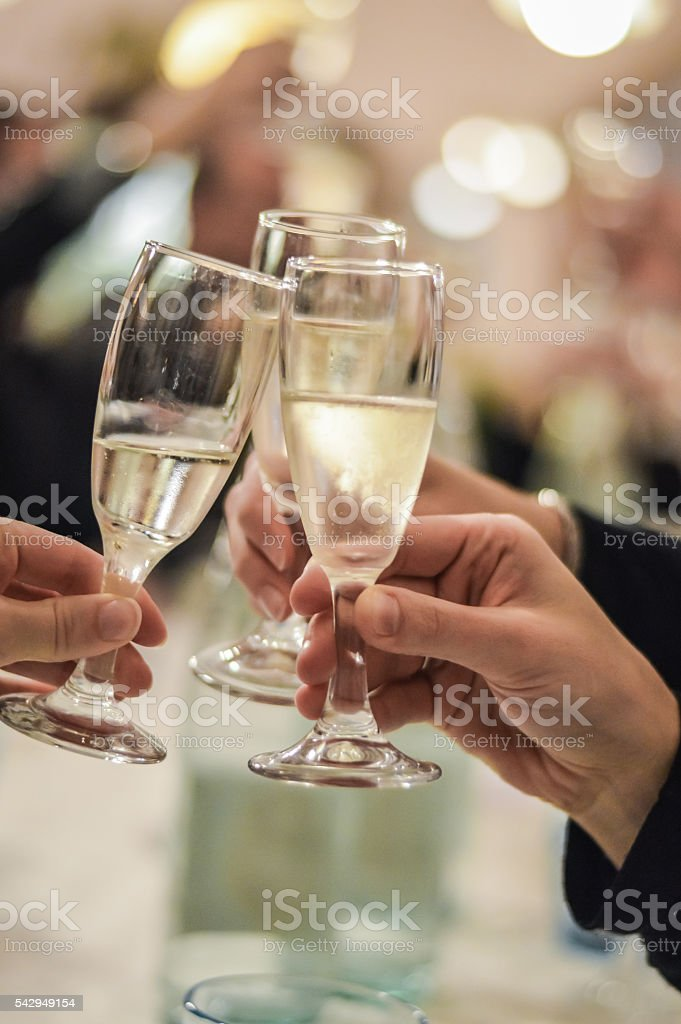 Toasting friends stock photo