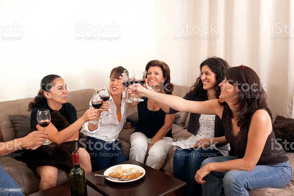 Toasting in a reunion royalty-free stock photo