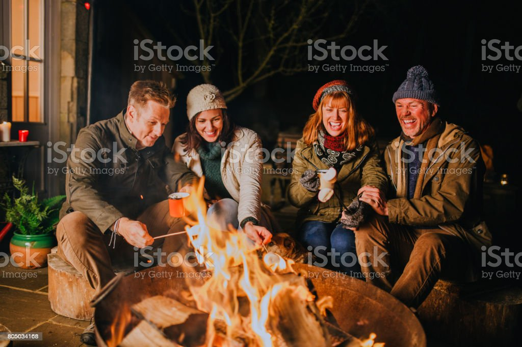 Toasting Marshmallows by the Fire stock photo