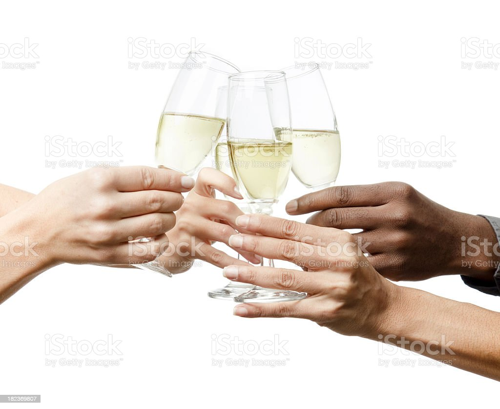 Toasting, three women and a man hands royalty-free stock photo