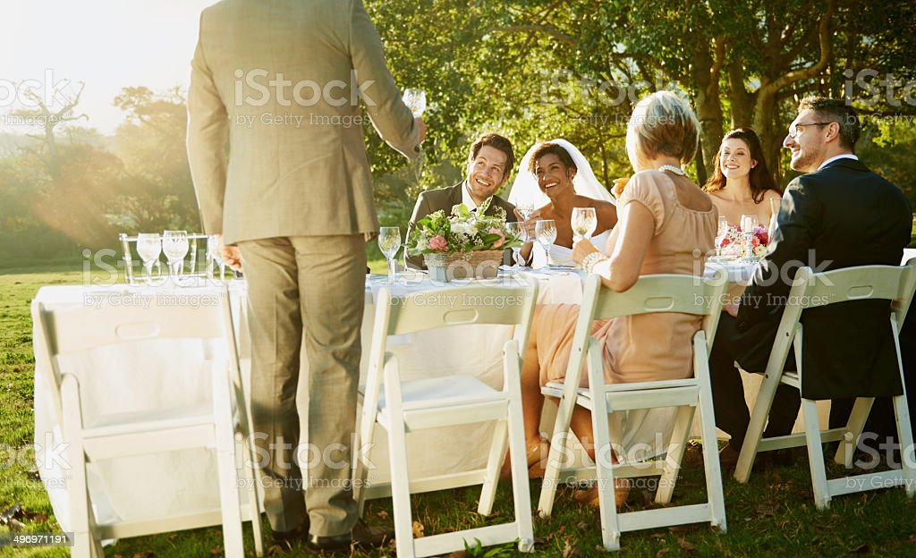 Toasting to a lifetime together stock photo