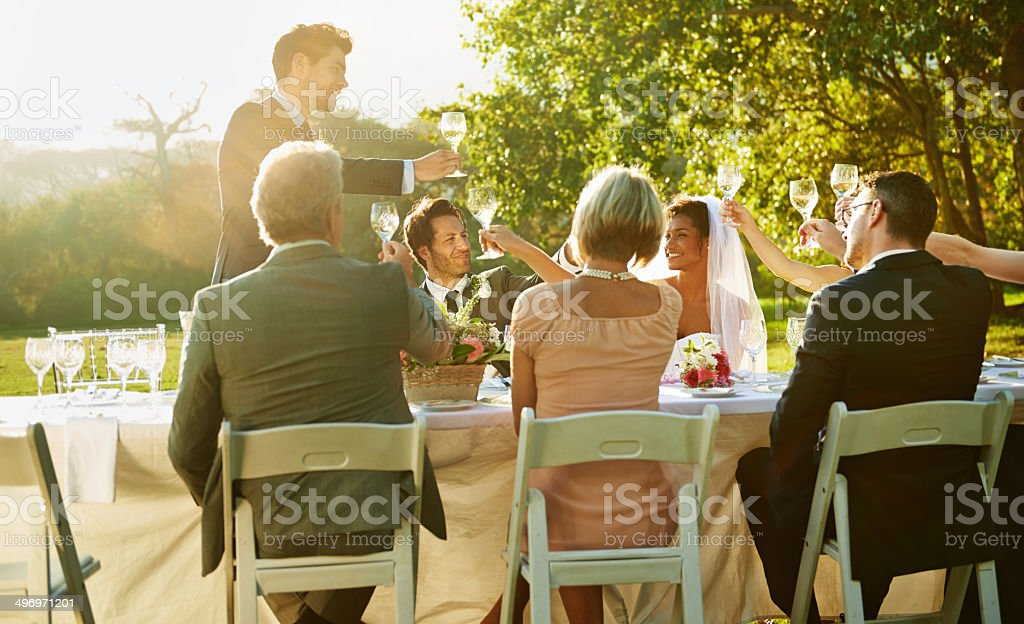 Toasting to forever stock photo