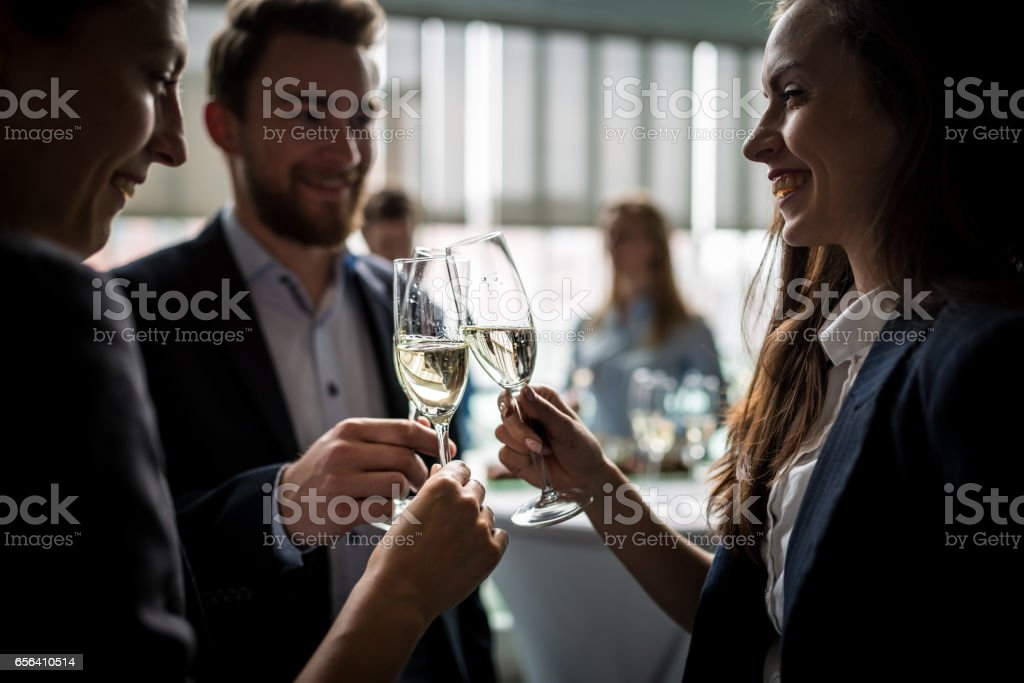 Toasting to success stock photo