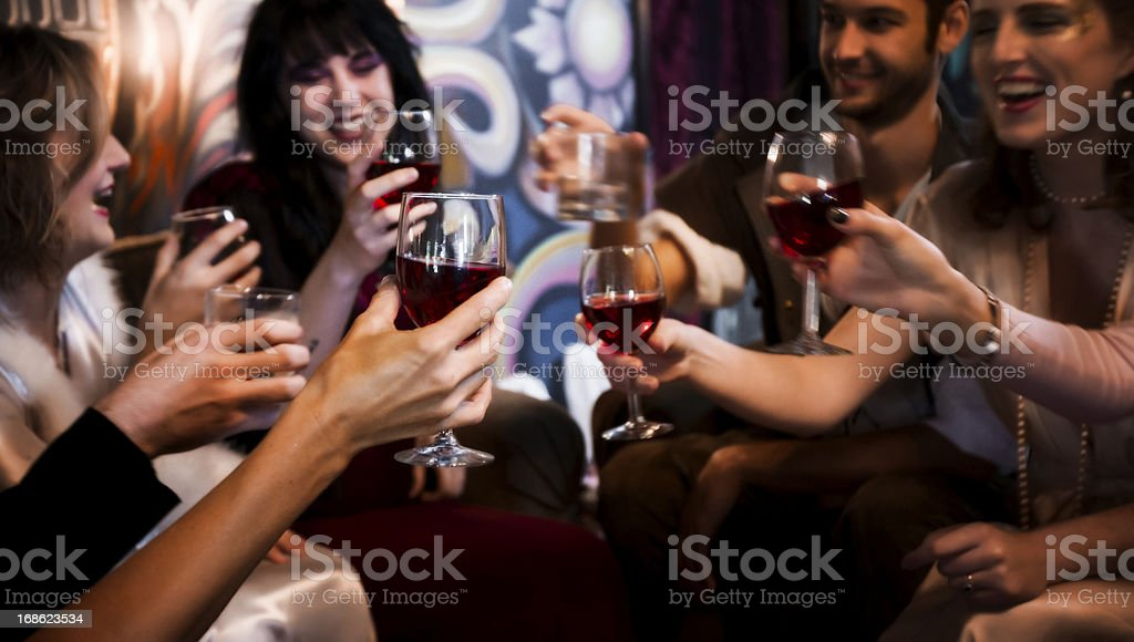 Toasting with Wine stock photo