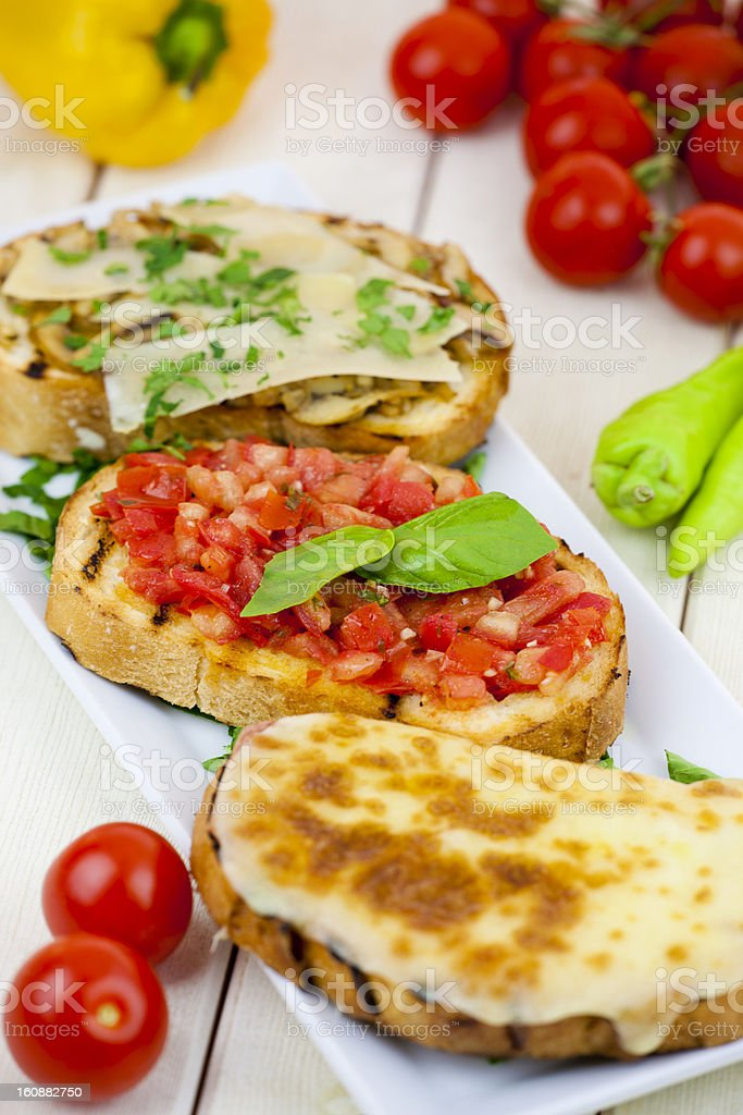 Toasts and Vegetables stock photo