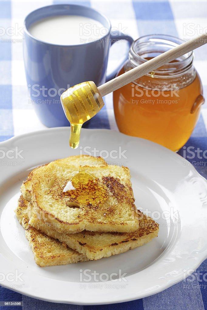 Toasts, honey, and milk royalty-free stock photo
