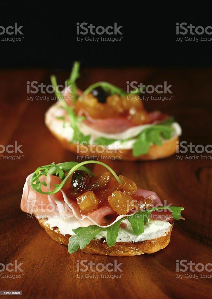 toasts with apple chutney royalty-free stock photo