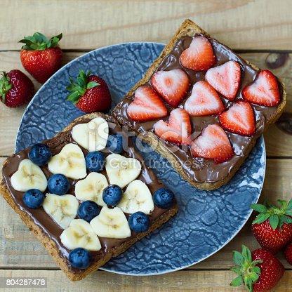 640978994 istock photo Toasts with banana, strawberry, blueberry, hazelnut spread and bread 804287478