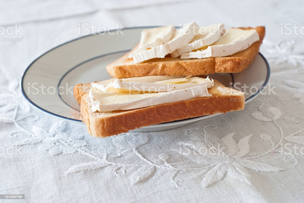 Toasts with camambert cheese royalty-free stock photo