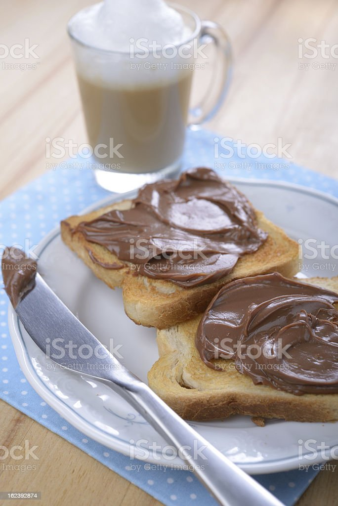 Toasts with chocolate royalty-free stock photo