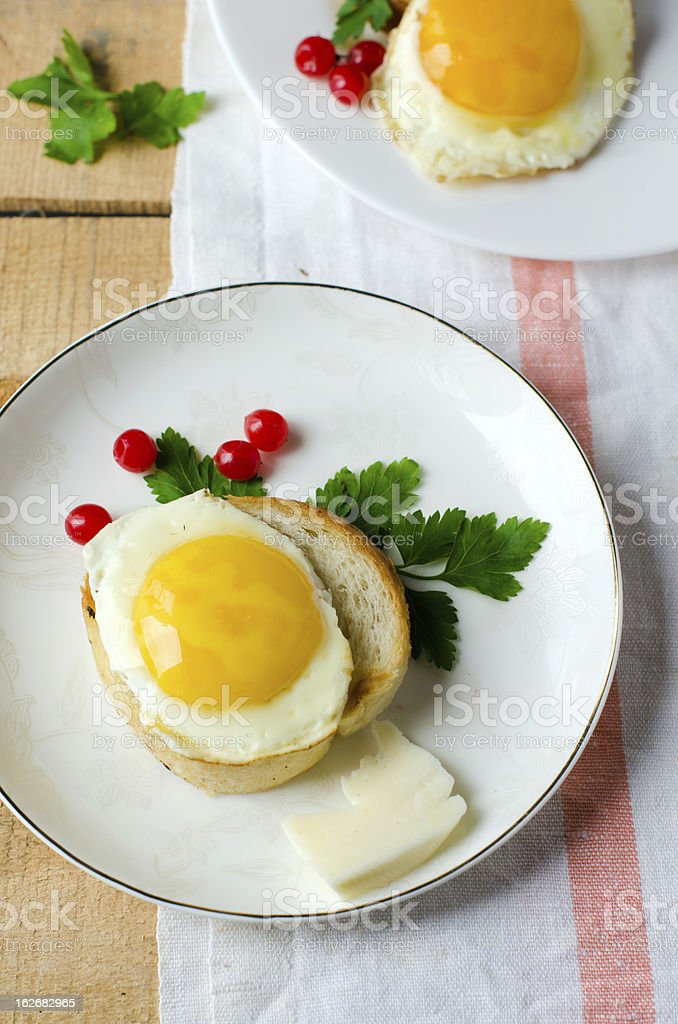 Toasts with fried egg royalty-free stock photo