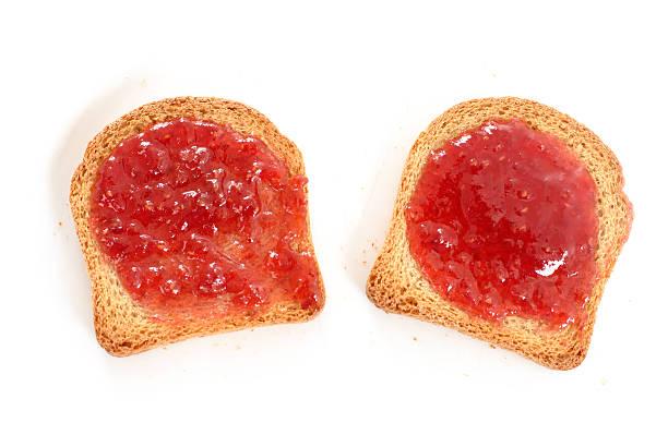 toast con marmellata - fette biscottate foto e immagini stock