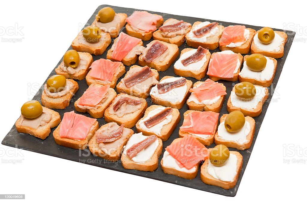 Toasts with pate, cheese, salmon royalty-free stock photo