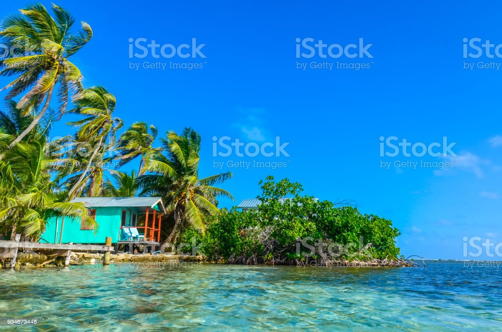 Tobacco Caye Relaxing At Cabin Or Bungalow On Small Tropical Island At Barrier Reef With Paradise Beach Caribbean Sea Belize Central America Stock Photo Download Image Now Istock