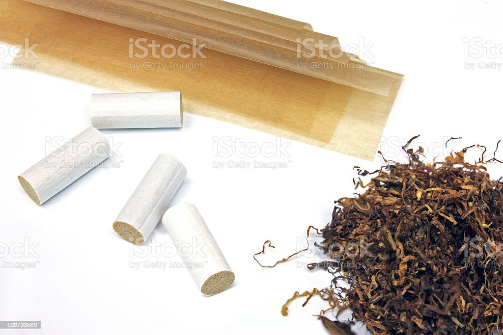 Tobacco filter tips and papers stock photo