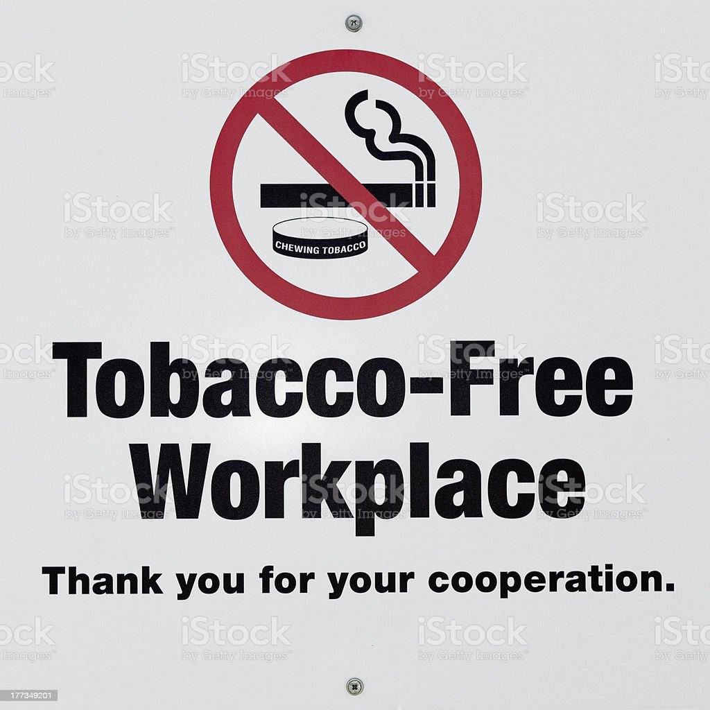Tobacco Free Workplace, No Smoking Sign stock photo