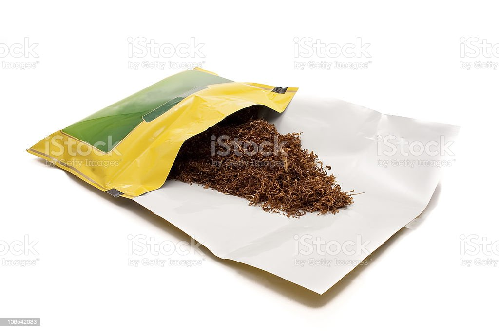 Tobacco Pouch Yellow and Green Isolated stock photo