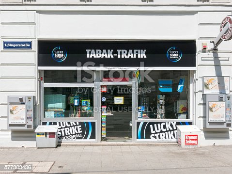 Vienna, Austria - May 26, 2016: Front of tobacco shop in the city centre of Vienna, Austria