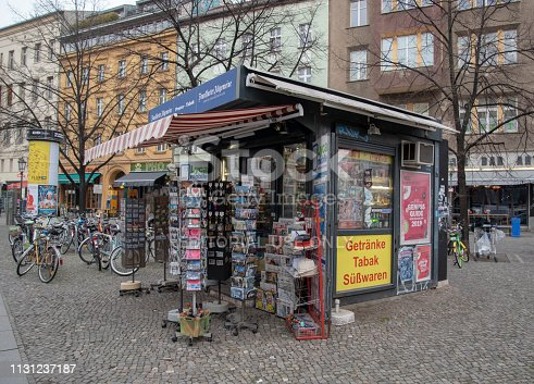 Berlin,Germany-December 20,2018. Tobacconist,paper shop kiosk in Berlin street.