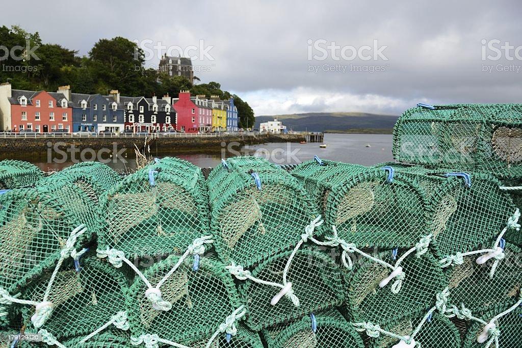 Tobermory fishing quay stock photo