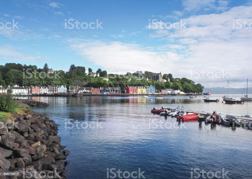 Tobermory Harbor On Blue Sky Background stock photo