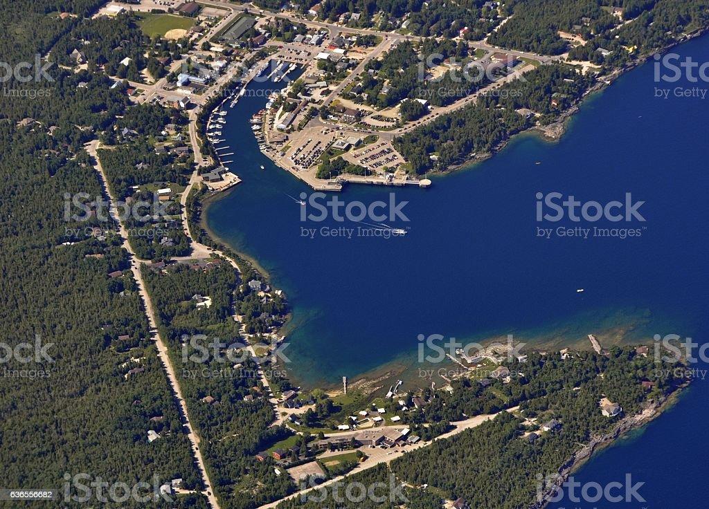 Tobermory harbour aerial stock photo
