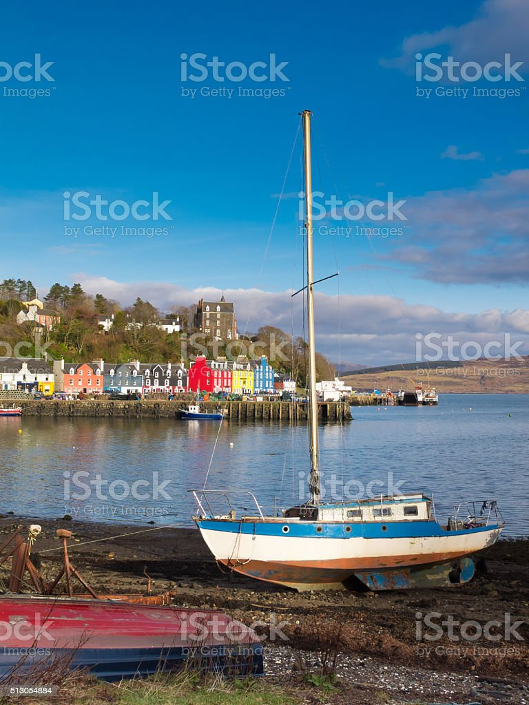 tobermory village and boats stock photo