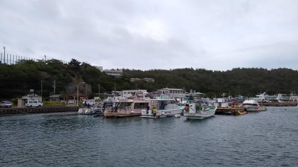 Tobiuo Pier in the remote island Chichi-Jima, Ogasawara, Japan stock photo