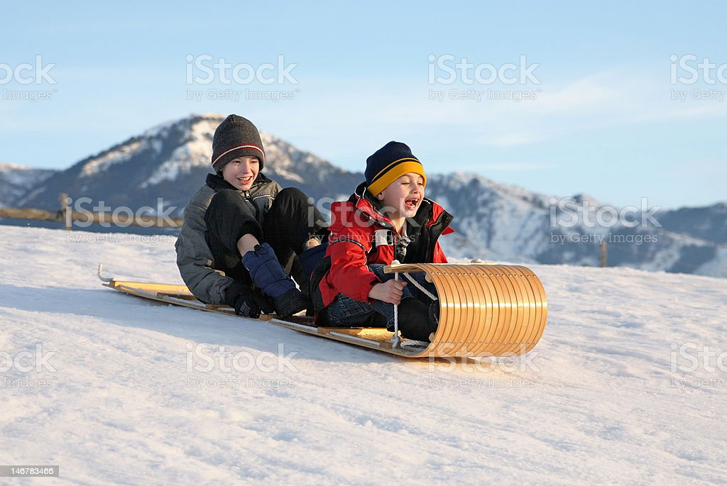 toboggan for two stock photo