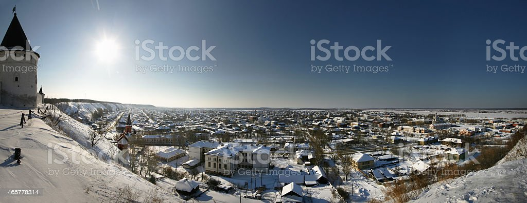 Tobolsk. Panorama of the old city. stock photo