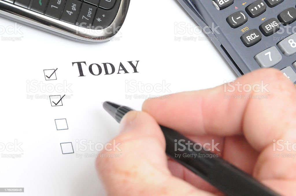 Today checklist royalty-free stock photo