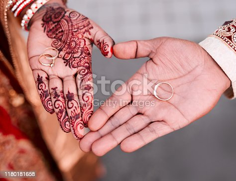 Cropped shot of an unrecognizable couple making a heart shape with their hands while showing their rings on their palms on their wedding day