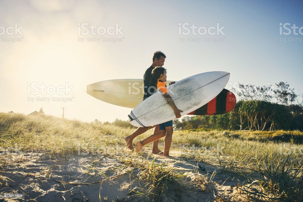 Today is the perfect day to bond with my son stock photo