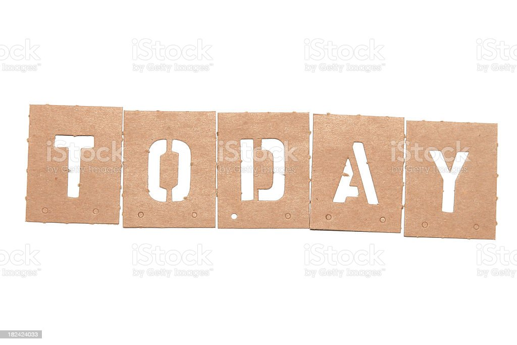 Today Stencil Word royalty-free stock photo