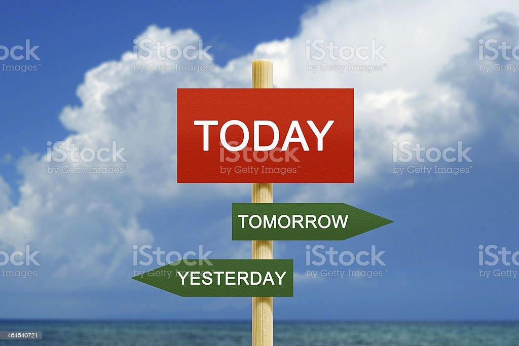 Today Tomorrow Yesterday stock photo