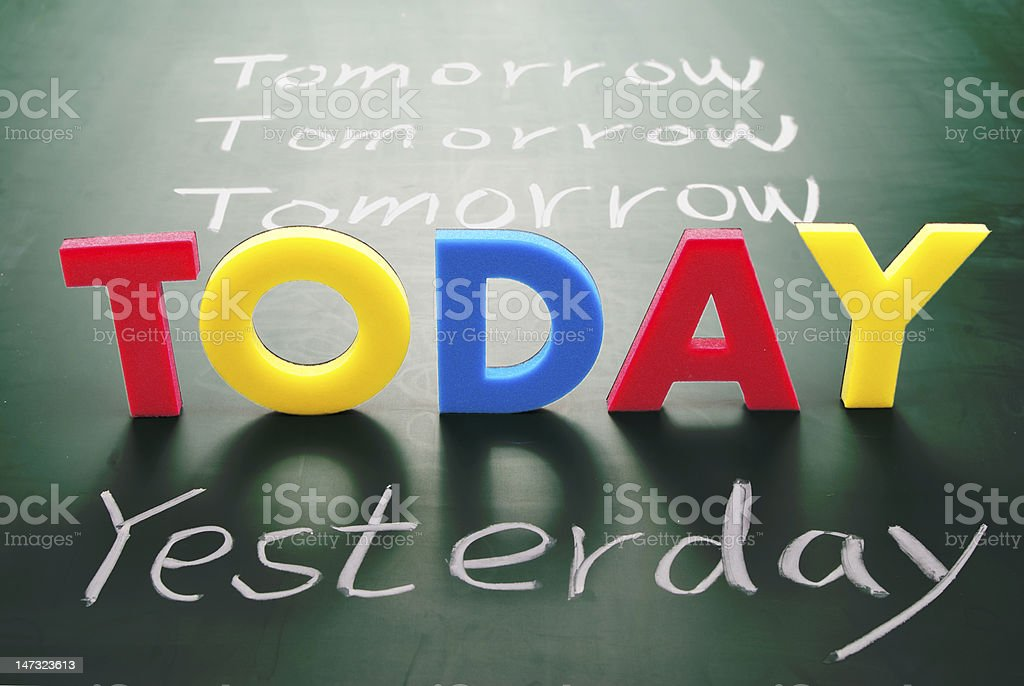 Today, yesterday, and tomorrow words on blackboard stock photo