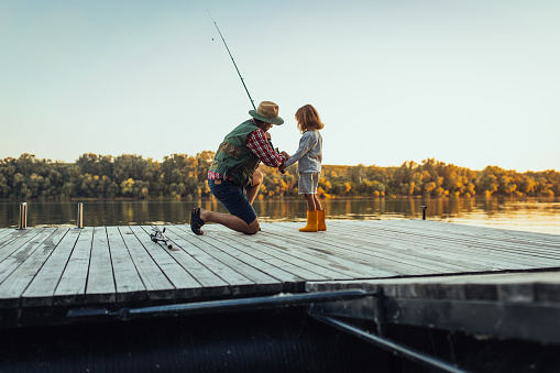 Grandfather and grandson on a fishing adventure