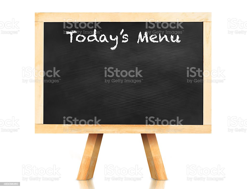 Today's menu word on blackboard with easel stock photo