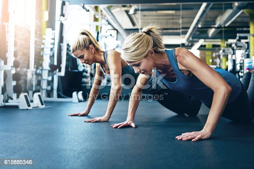Shot of two women doing push-ups at the gym