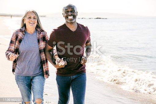 Active seniors on the beach