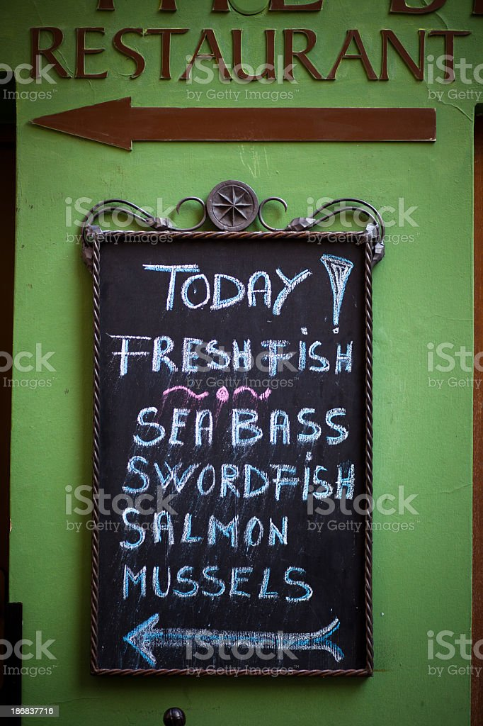 Today's Specials at Seafood Restaurant, Prague stock photo