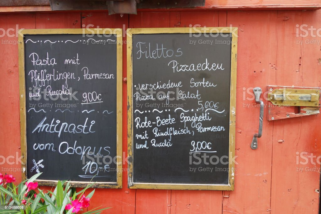 Todays specials in german stock photo