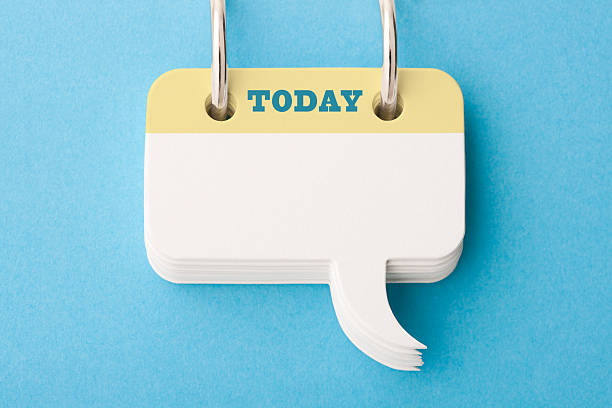 Today's To Do List Roladex styled speech bubbles hanging from steel rings. Make your own 'to do list', saying, statement etc. routine stock pictures, royalty-free photos & images
